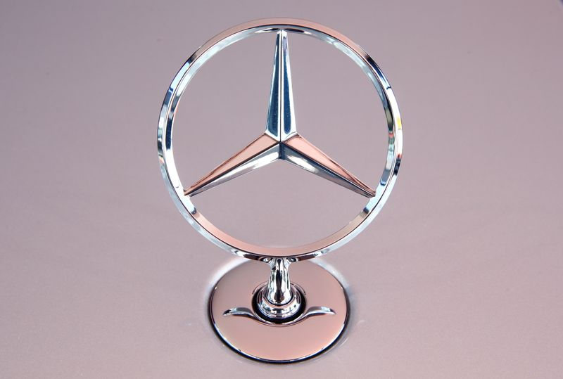 The Mercedes Benz star is seen on a new Mercedes-Benz S-Class limousine near Immendingen
