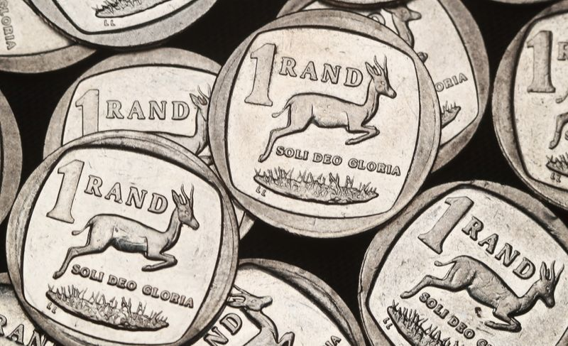 South African Rand coins are seen in this illustration picture