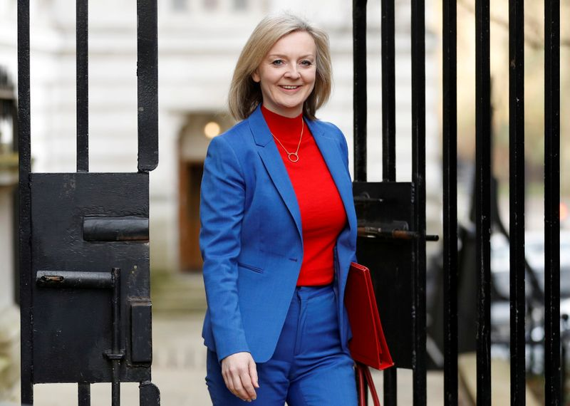 FILE PHOTO: Britain's Secretary of State of International Trade and Minister for Women and Equalities Liz Truss is seen outside Downing Street in London