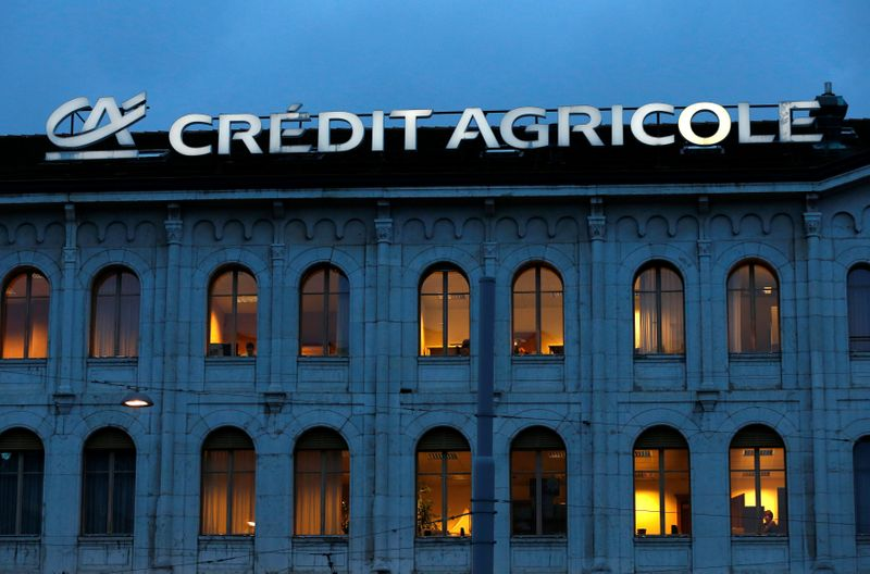 FILE PHOTO: A Credit Agricole sign is pictured on a building of the bank in Geneva