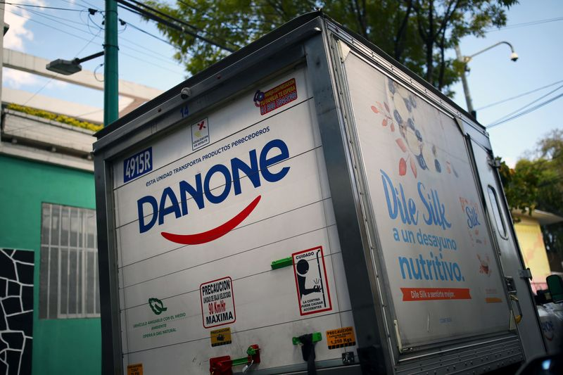 FILE PHOTO: A company logo of the French food group Danone is pictured on a truck in Mexico City