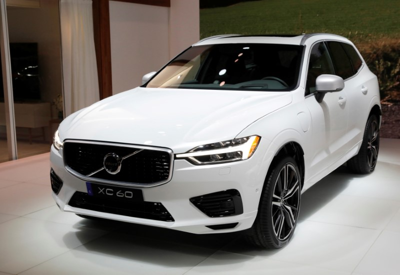 FILE PHOTO: 2018 Volvo XC60 is displayed at the 2017 New York International Auto Show in New York