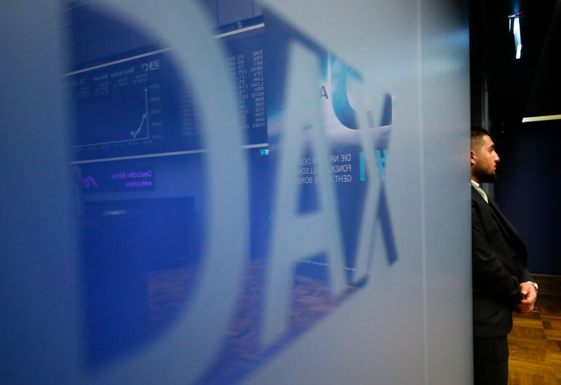 The DAX (German stock index) logo is seen at the stock exchange in Frankfurt