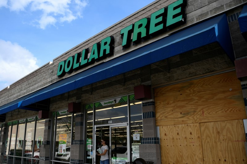 FILE PHOTO: A customer walks out of a Dollar Tree discount store in Austin, Texas