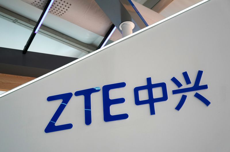 Sign of ZTE is seen at the 2020 China International Fair for Trade in Services (CIFTIS) in Beijing