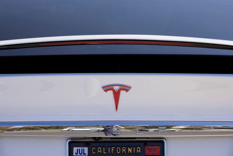 FILE PHOTO: A Tesla Model X is shown at a Tesla service center in Costa Mesa, California