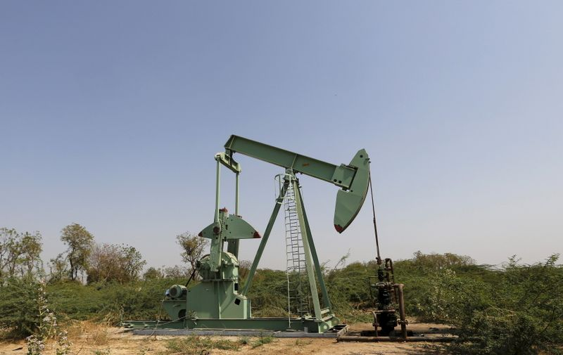 ONGC well is pictured in an oil field on the outskirts of western city of Ahmedabad