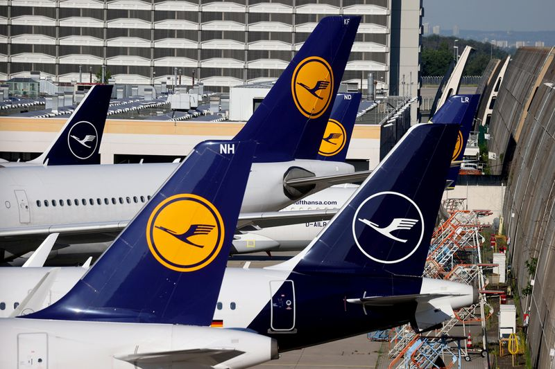 FILE PHOTO: Lufthansa planes are seen parked on the tarmac of Frankfurt Airport
