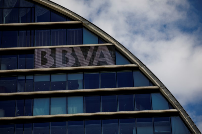 The headquarters of the Spanish bank BBVA are seen in Madrid