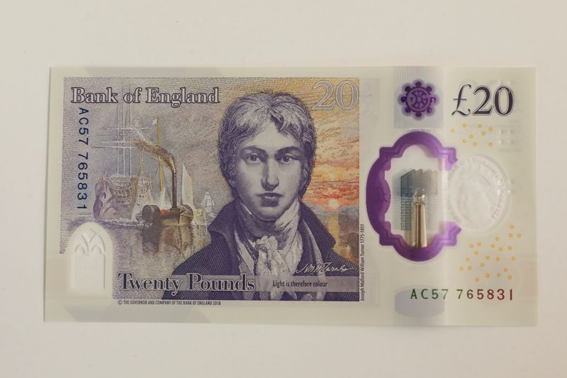 The new 20 pound note featuring artist JW Turner sits at the Tate Britain in London