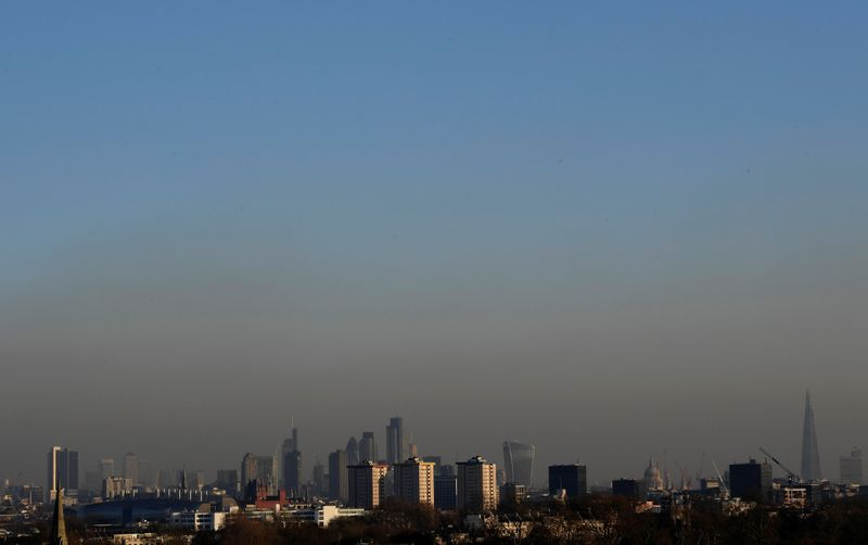 FILE PHOTO: Smog is seen over the city of London