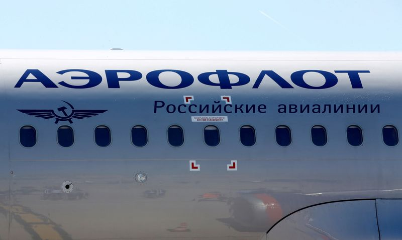 FILE PHOTO: The logo of Russia's flagship airline Aeroflot is seen on an Airbus A320 which landed after an inaugural trip at the Marseille-Provence airport in Marignane
