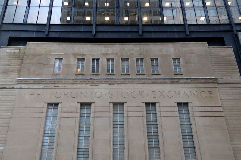 The facade of the original Toronto Stock Exchange building is seen in Toronto