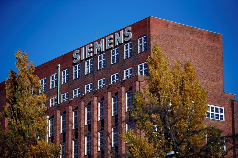 FILE PHOTO: The Siemens logo is seen on a building in Siemensstadt in Berlin