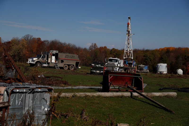 FILE PHOTO: A view of a well site which sits atop the natural gas-rich Marcellus shale formation in Western Pennsylvania outside of Union City, Pennsylvania