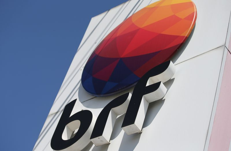 FILE PHOTO: A logo of Brazilian meatpacker BRF SA is seen in the headquarters in Curitiba