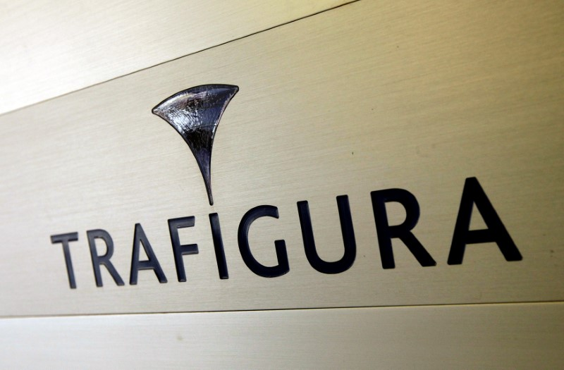 FILE PHOTO: Trafigura logo is pictured in the company entrance in Geneva