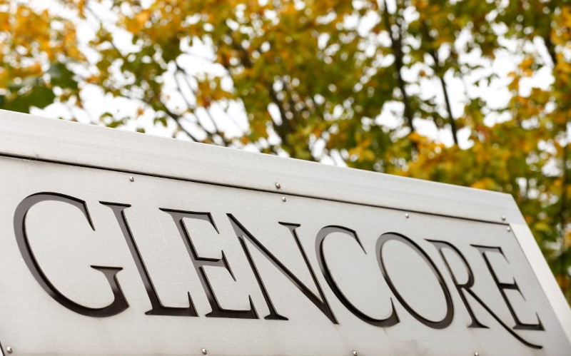 FILE PHOTO: The logo of commodities trader Glencore is pictured in front of the company's headquarters in Baar