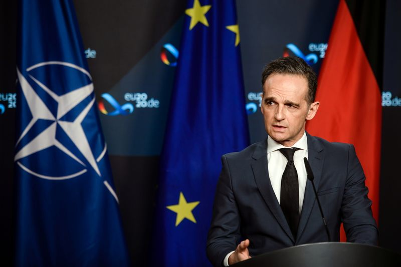 German Foreign Minister Heiko Maas speaks during a virtual news conference in Berlin