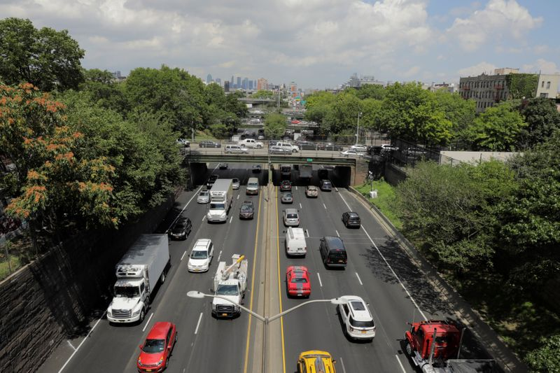 Traffic backs up on the Brooklyn Queens Expressway in New York
