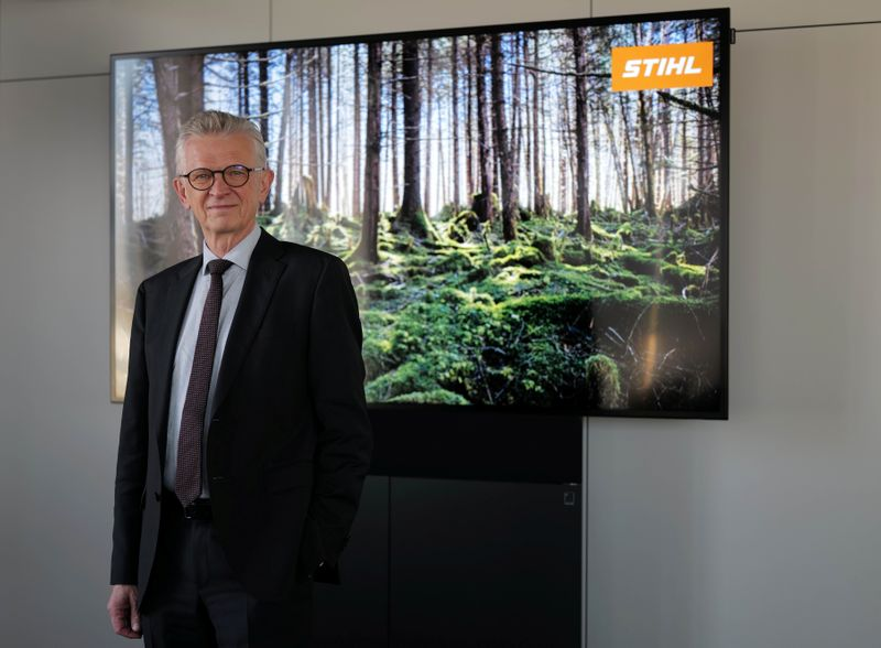Bertram Kandziora, CEO of German engineering company Stihl, poses for a picture following an interview with Reuters in Waiblingen