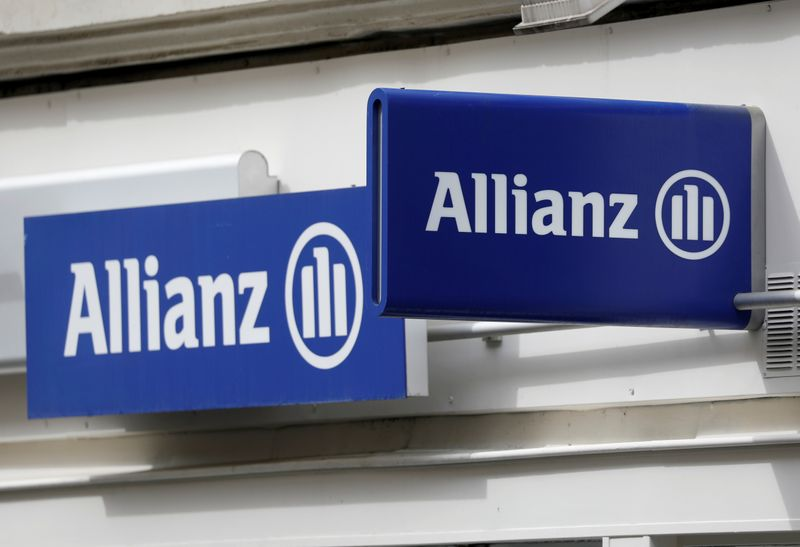The logo of Allianz is seen in Paris