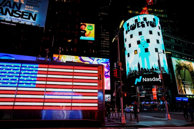 FILE PHOTO: Times Square is illuminated in blue as part of the