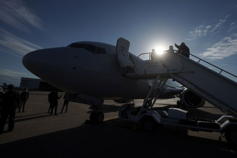 A Boeing 737 Max airplane is pictured on the tarmac at Dallas Fort Worth Airport following a media flight to Tulsa
