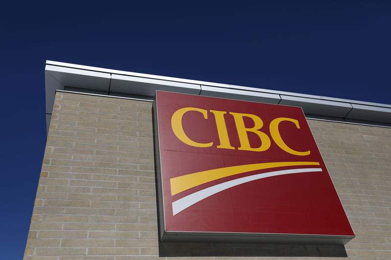 FILE PHOTO: The CIBC logo is seen outside of a branch in Ottawa