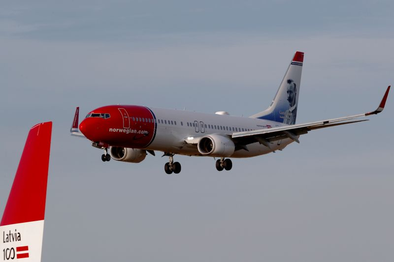 FILE PHOTO: Norwegian Air Sweden Boeing 737-800 plane SE-RRY approaches Riga International Airport in Riga
