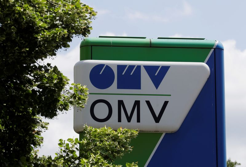The OMV logo is seen at a gas station in Vienna