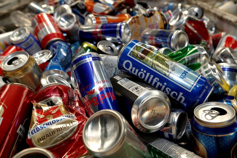 FILE PHOTO: Aluminium beverage cans in a container at Metallum recycling company in Regensdorf
