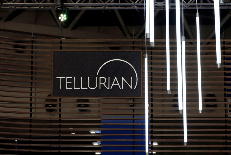 FILE PHOTO: The logo of Tellurian Inc is seen in its booth at Gastech, the world's biggest expo for the gas industry, in Chiba