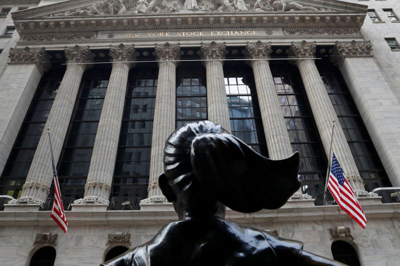 The New York Stock Exchange (NYSE) is seen in the financial district of New York