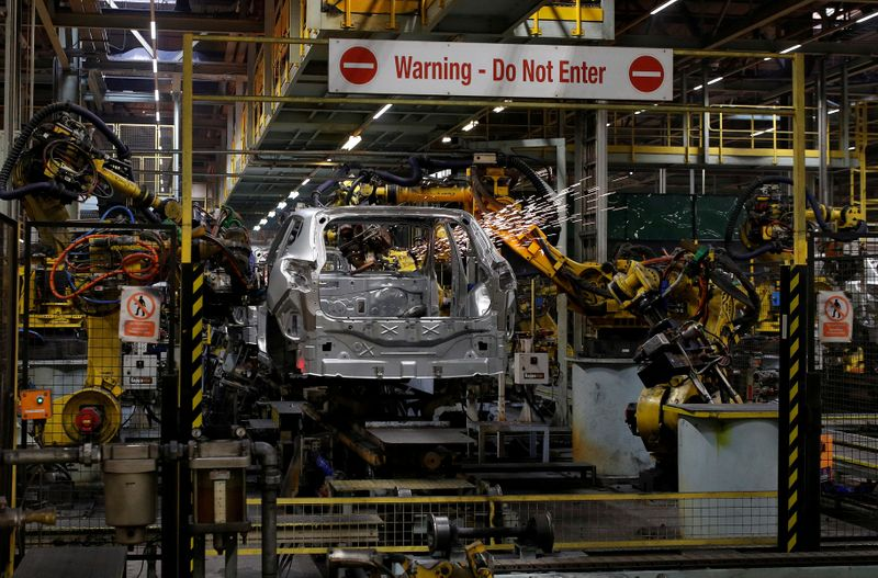 FILE PHOTO: A car is seen on the production line at Nissan's car plant in Sunderland Britain