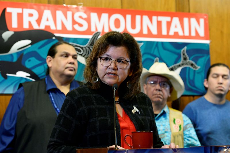 FILE PHOTO: Coast Salish drummers and First Nations chiefs attend a briefing in Vancouver