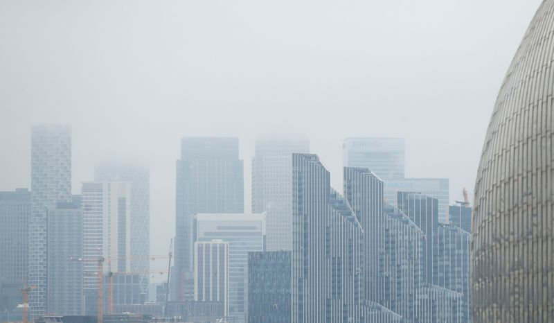 FILE PHOTO: Buildings are seen in the Canary Wharf business district, amid the outbreak of the coronavirus disease (COVID-19), in London