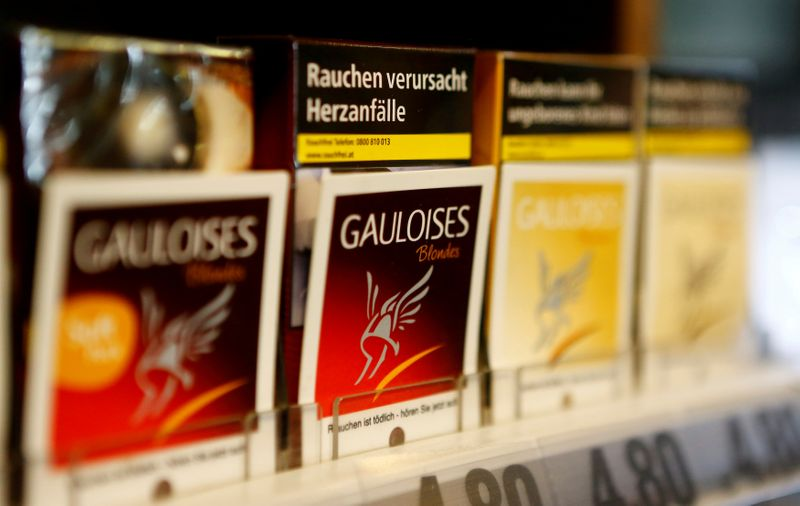 FILE PHOTO: Packs of Gauloises cigarettes are on display in a tobacco shop in Vienna, Austria