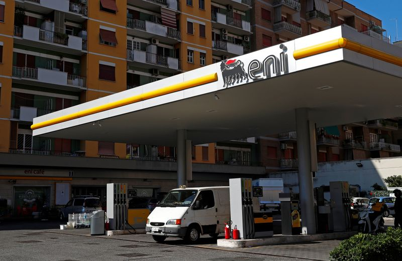 FILE PHOTO: The logo of Italian energy company Eni is seen at a gas station in Rome