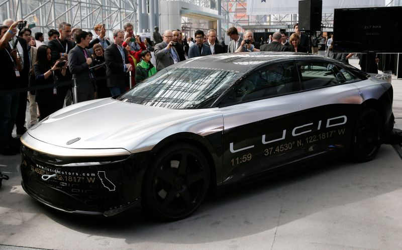 Lucid Air speed test car displayed at the 2017 New York International Auto Show in New York