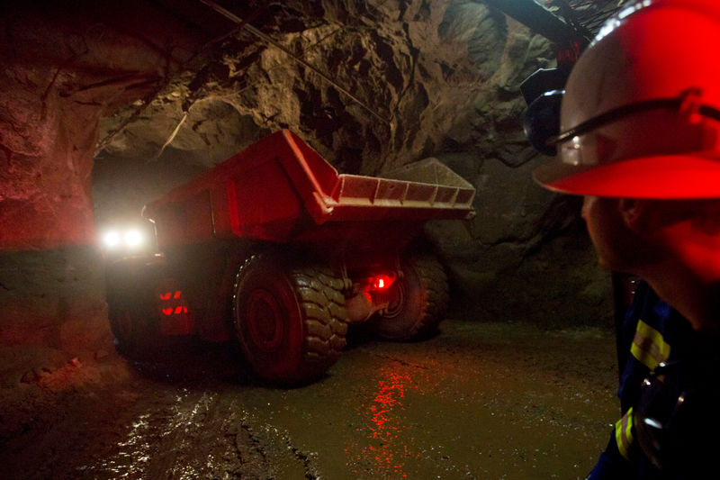 FILE PHOTO: A truck travels underground to collect ore at the Chibuluma copper mine