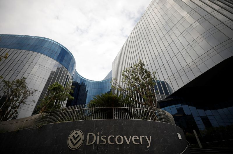 The logo of South Africa's Discovery group in seen on its headquarters in Sandton