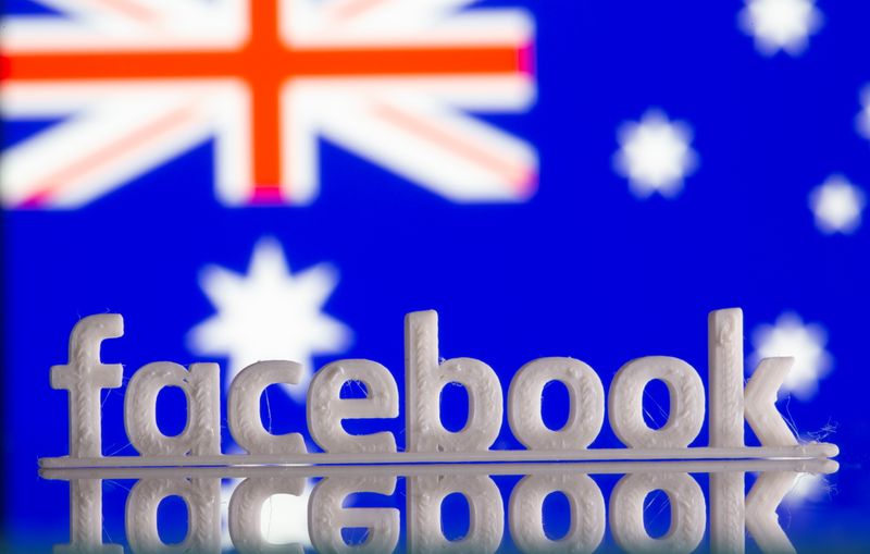A 3D printed Facebook logo is seen in front of displayed Australia's flag in this illustration photo