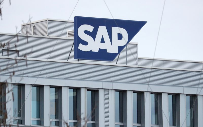 The logo of German software group SAP is pictured in Regensdorf