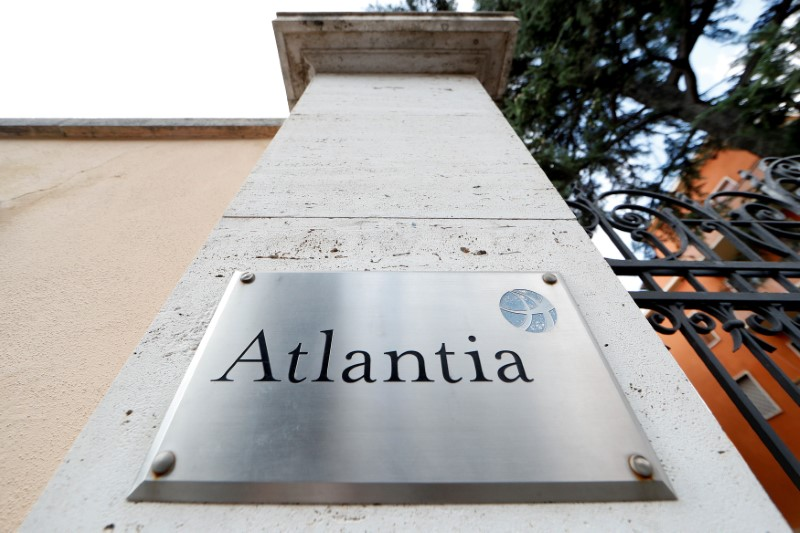 FILE PHOTO: A logo of the Atlantia Group is seen outside its headquarters in Rome, Italy