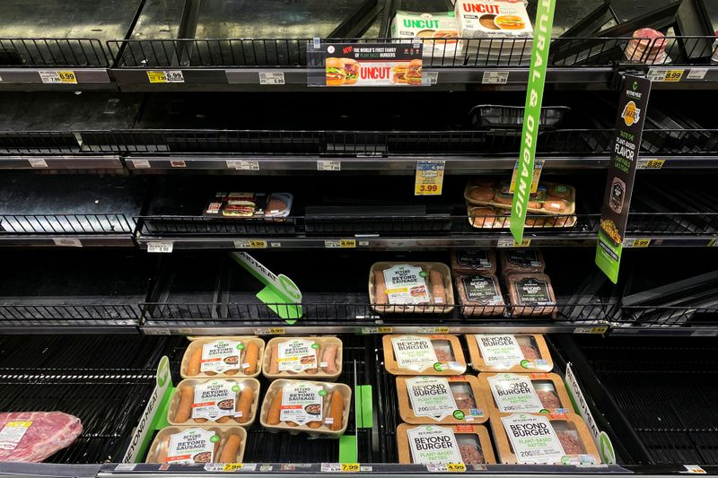 Beyond Meat products are displayed on grocery store shelves inside Kroger Co.'s Ralphs supermarket amid fears of the global growth of coronavirus cases, in Los Angeles, California