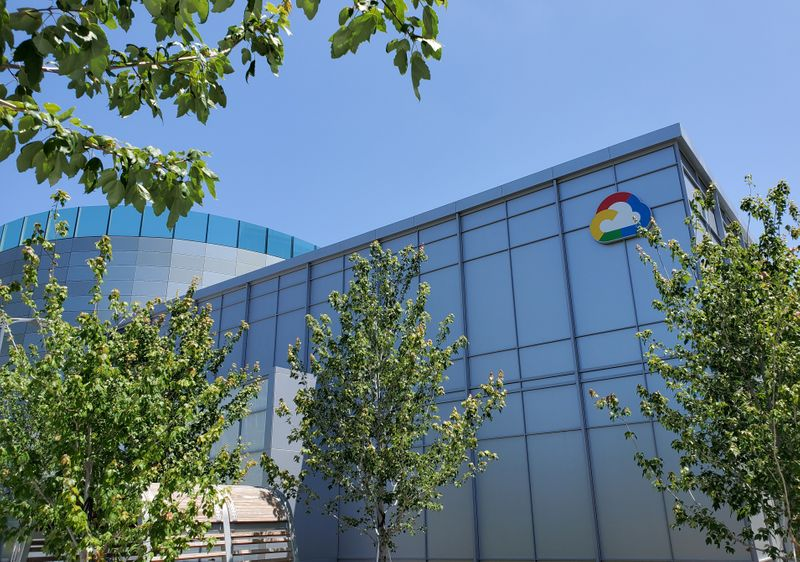 A Google Cloud logo outside of the Google Cloud computing unit's headquarters in Sunnyvale, California