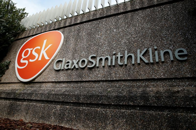 FILE PHOTO: Company logo of pharmaceutical company GlaxoSmithKline is seen at their Stevenage facility