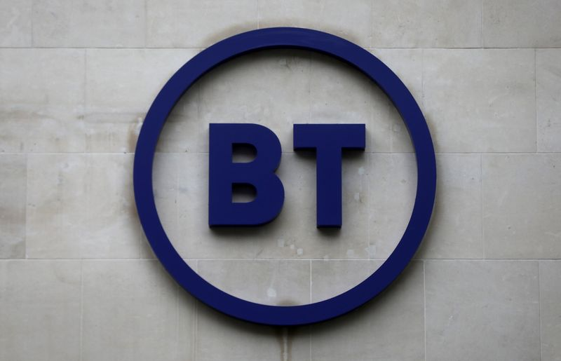 Company's logo is displayed at British Telecom (BT) headquarters in London