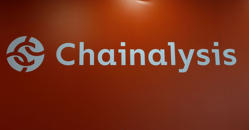 The logo of Chainalysis is seen on their exhibition stand at the Delta Summit, Malta's official Blockchain and Digital Innovation event promoting cryptocurrency, in Ta' Qali